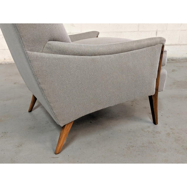 Restored Kroehler Mid-Century Modern Gray Wool Walnut Lounge Chairs - a Pair For Sale - Image 9 of 13