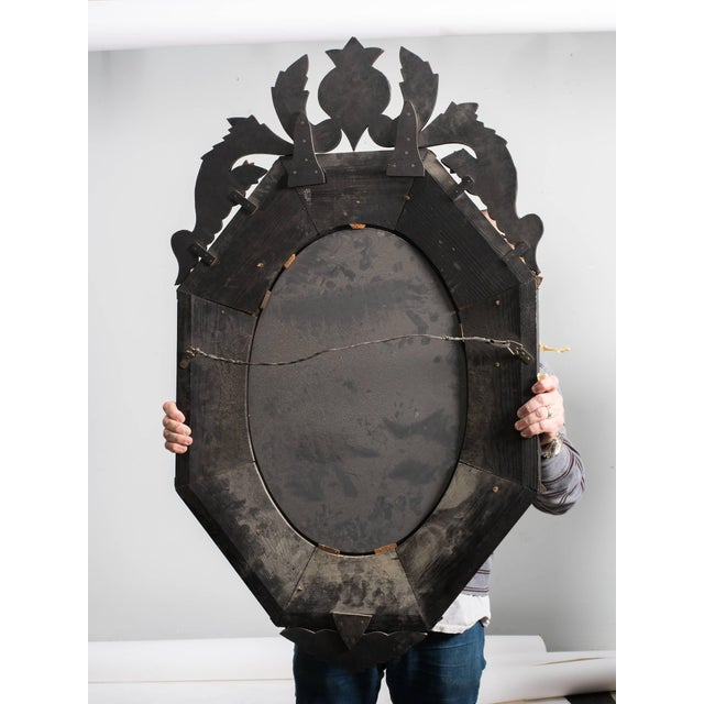 Metal 1930s Octagonal Venetian Mirror With Crown For Sale - Image 7 of 10