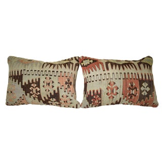 Vintage Geometrical Kilim Pillow Cover, Turkish Lumbar Cushion Case 14'' X 20'' (35 X 50 Cm) For Sale