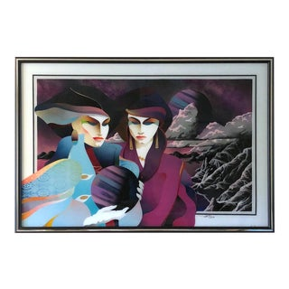 1990 Ned Moulton Universal Control Modern Woman Reverse Acrylic Painting For Sale