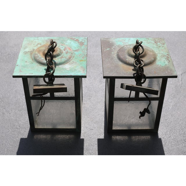Verdigris Vintage Weathered Copper and Glass Outdoor Hanging Lanterns - a Pair For Sale - Image 8 of 10