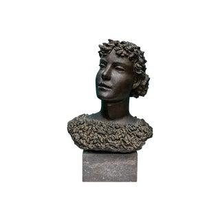 Henri Puvrez (Belgian, 1893-1971), Signed Patinated Bronze Female Bust For Sale