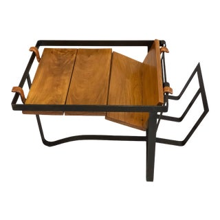 French Midcentury Modern Side Table or Magazine Stand by Jacques Adnet For Sale