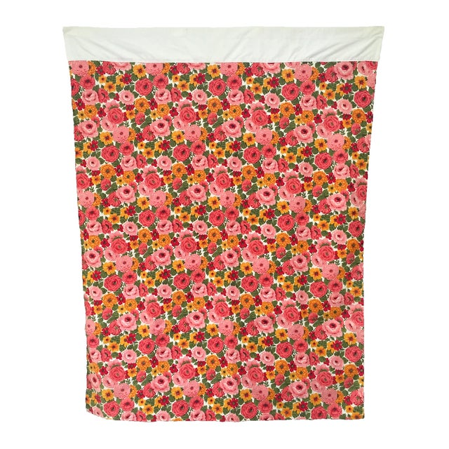 Vintage 1960s Pink Floral Curtain - Image 1 of 6