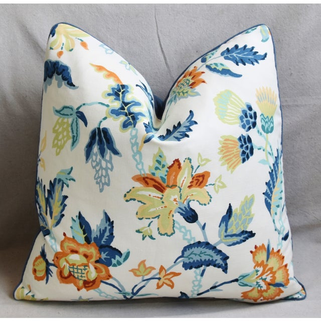 """Early 21st Century Schumacher Scottish Thistle Floral Feather/Down Pillow 21"""" Square For Sale - Image 5 of 6"""