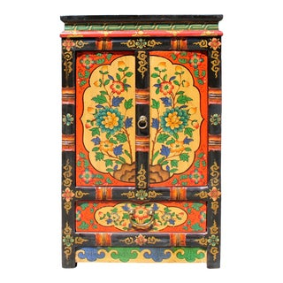 Black Orange Yellow Tibetan Floral End Table Nightstand Cabinet For Sale