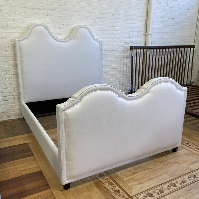 Design Plus Gallery presents a NEW Queen Size Custom Design Upholstered Linen Bed Frame. Elegant French inspired arches...