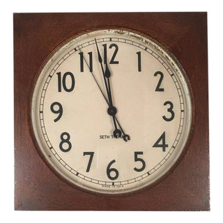 Seth Thomas Oak Electric Wall Clock For Sale