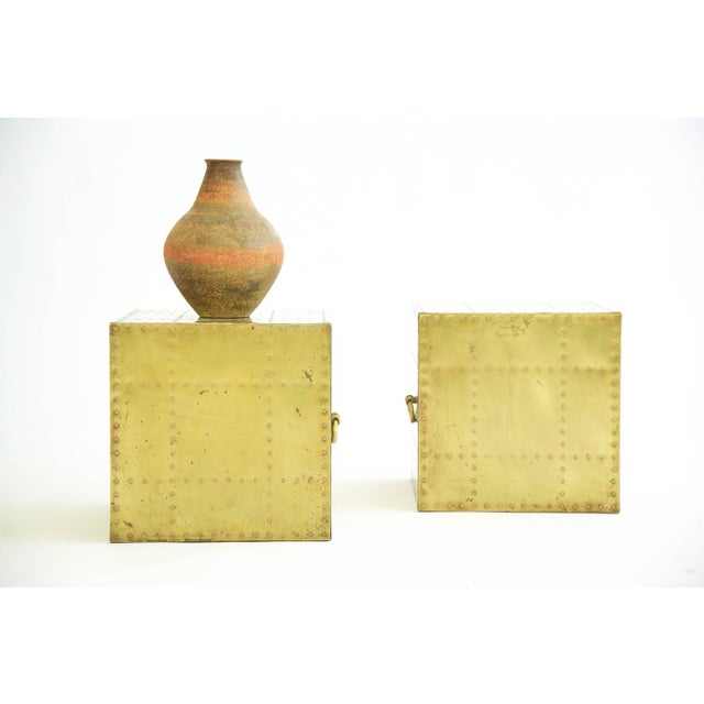1970s Sarreid Brass Cube End Tables For Sale - Image 5 of 8