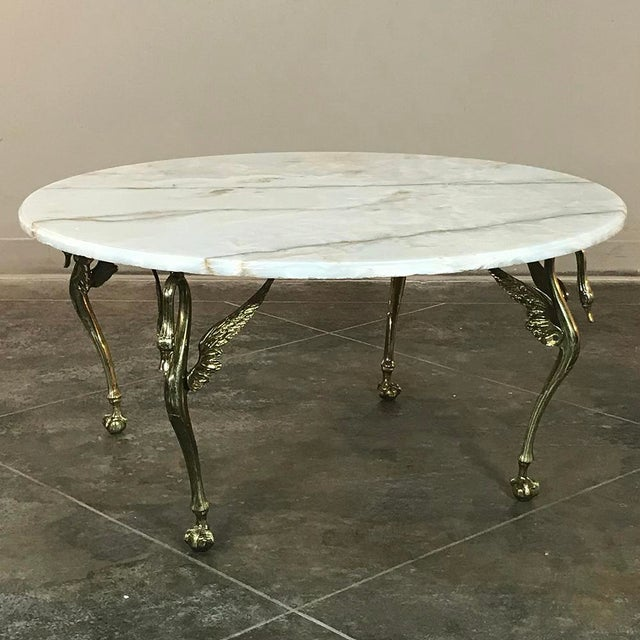 Mid-Century Modern Mid-Century French Brass & Onyx Round Coffee Table For Sale - Image 3 of 11