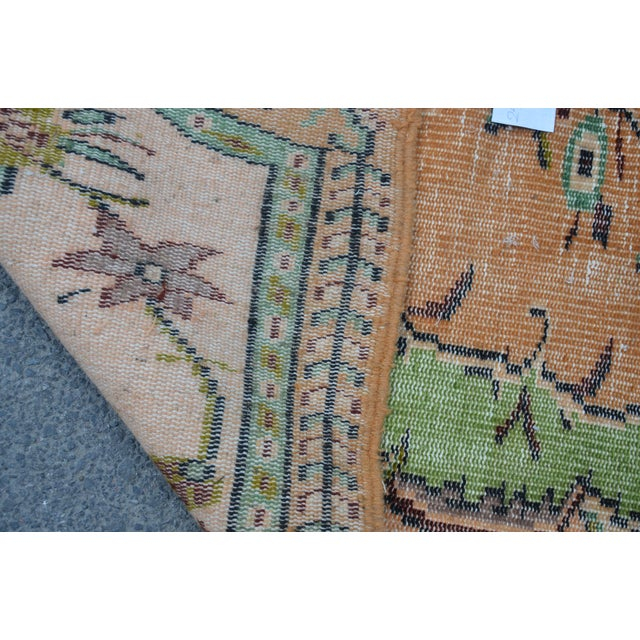 Modern Turkish Oushak Handwoven Green and Orange Wool Floral Rug For Sale - Image 4 of 7