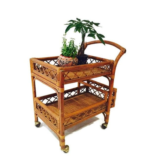 Mid-Century Bamboo & Cane Bar Cart 2 Tier - Image 7 of 8