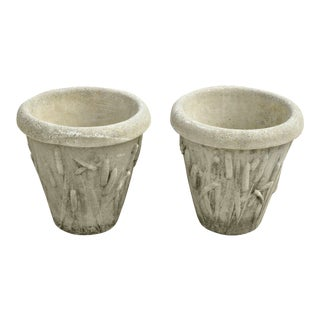 Late 20th Century Nina Studio Concrete Cement Dragonfly Cattail Leaf Garden Planters- A Pair For Sale