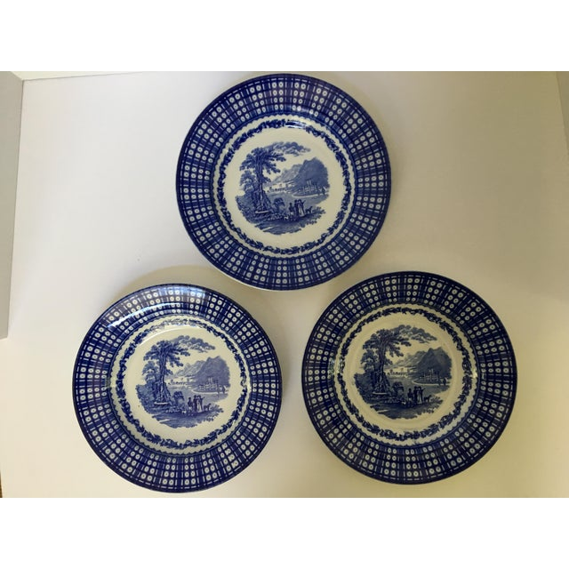 1900 - 1909 Antique Blue Rimmed Bowls in Breadalbane Pattern - Made in Cauldon, England - Set of Three For Sale - Image 5 of 12