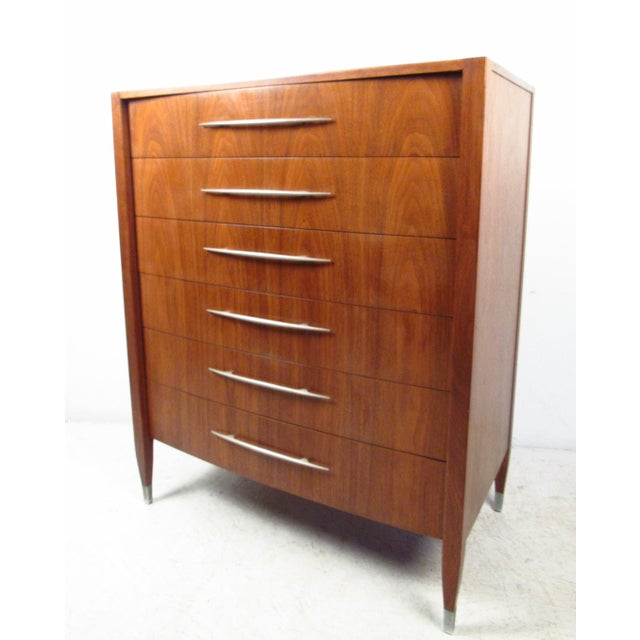 Mid-Century Walnut Dresser With Chrome Accenting by Sligh Furniture For Sale - Image 13 of 13