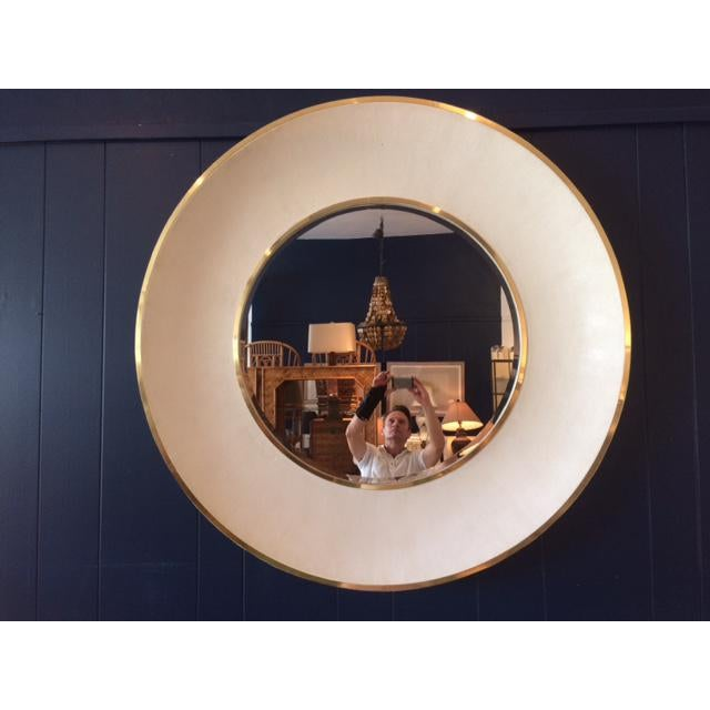 Modern Large Modern Round Shagreen-Style Mirror For Sale - Image 3 of 13