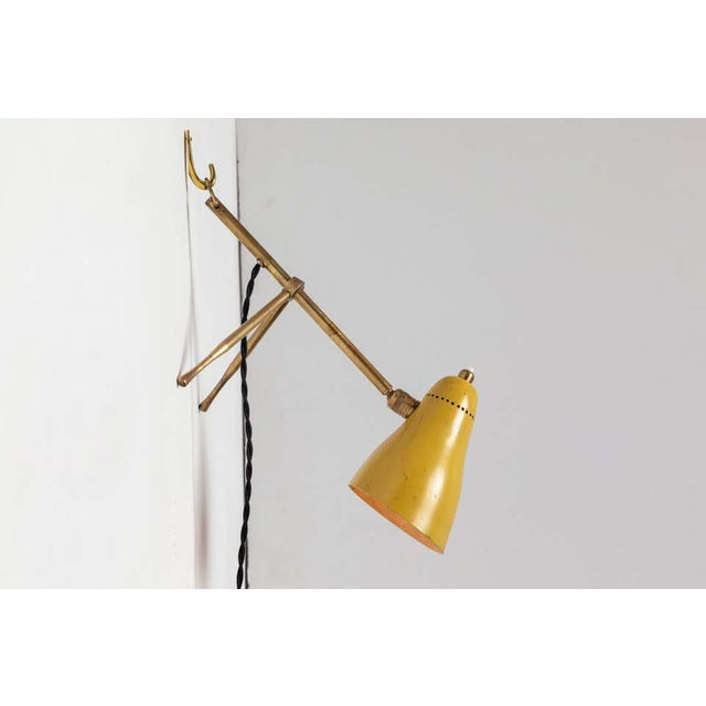 """1950s Giuseppe Ostuni """"Ochetta"""" Yellow Wall or Table Lamp for O-Luce For Sale - Image 9 of 13"""