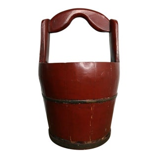 Antique Hand Carved Chinese Water Bucket For Sale