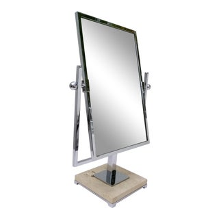 Vintage Chrome and Travertine Vanity - Table Mirror For Sale