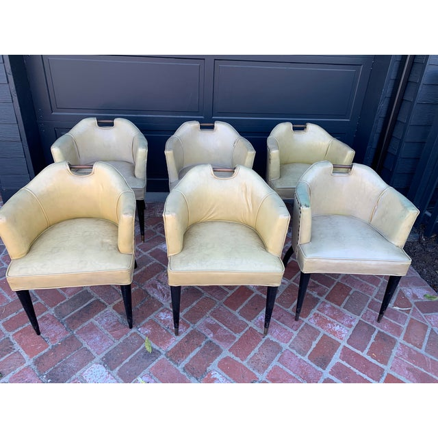 1950's Vinyl English Pub Club Chairs - Set of 7 For Sale In Los Angeles - Image 6 of 9