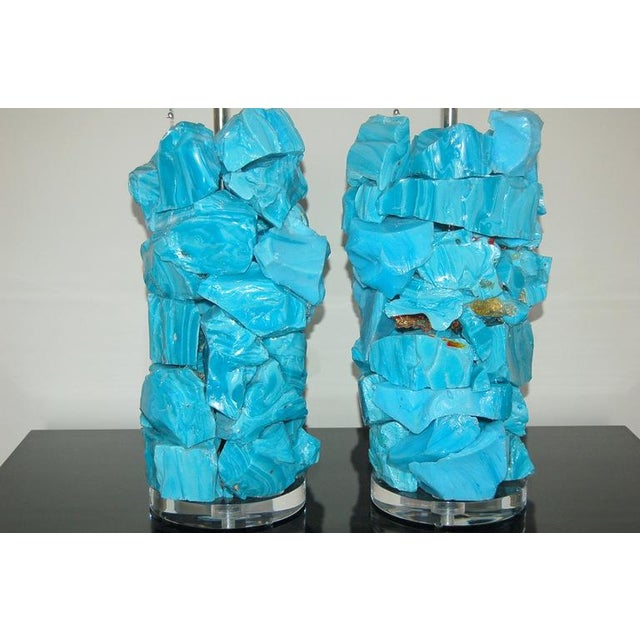 Swank Lighting Glass Rock Table Lamps by Swank Lighting Blue For Sale - Image 4 of 10