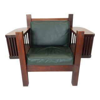 Antique Arts & Crafts Mission Oak Large Arm Chair