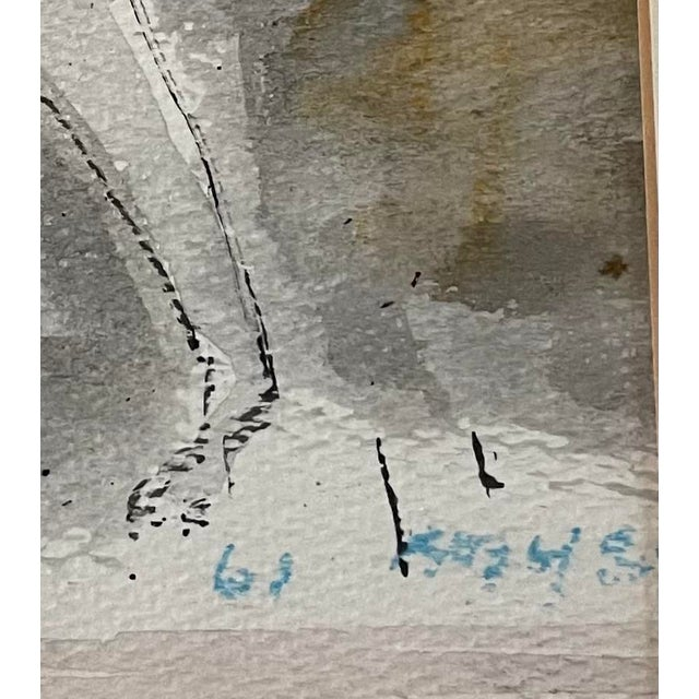 """1960s 1960s """"Horse and Rider"""" Modernist Figurative Gouache Painting by Birney Quick, Framed For Sale - Image 5 of 9"""