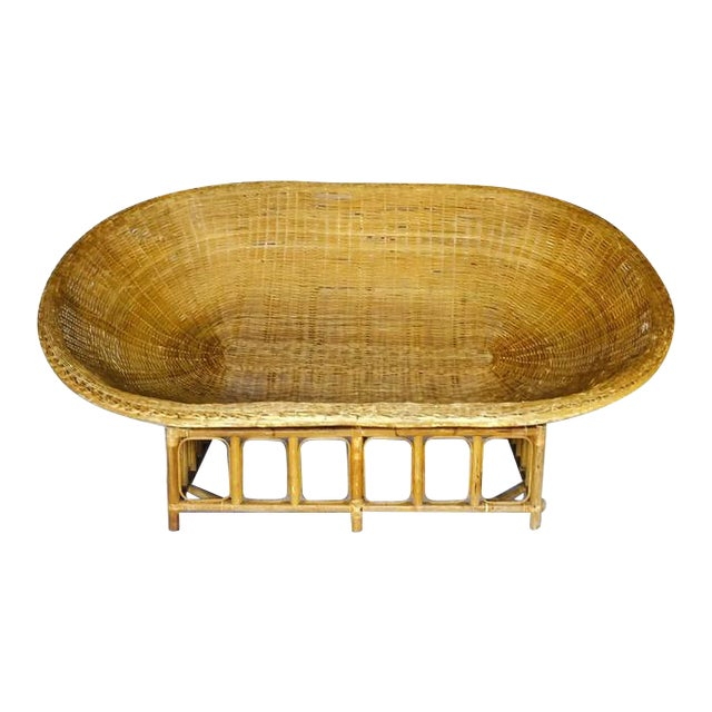 1970s Vintage Bamboo & Rattan Scoop Sofa - Image 1 of 10