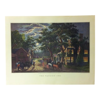 "Currier & Ives American Print, ""The Wayside Inn"" by Crown Publishers, Circa 1950 For Sale"