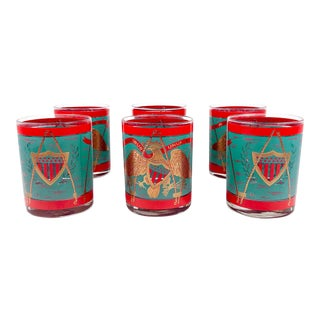 Mid Century Red, Gold, Aqua Cocktail Glasses by Cera - Set of 6 For Sale