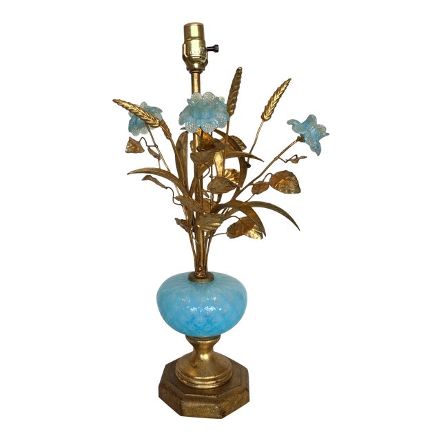 Mid 20th Century Murano Floral Bouquet Lamp For Sale