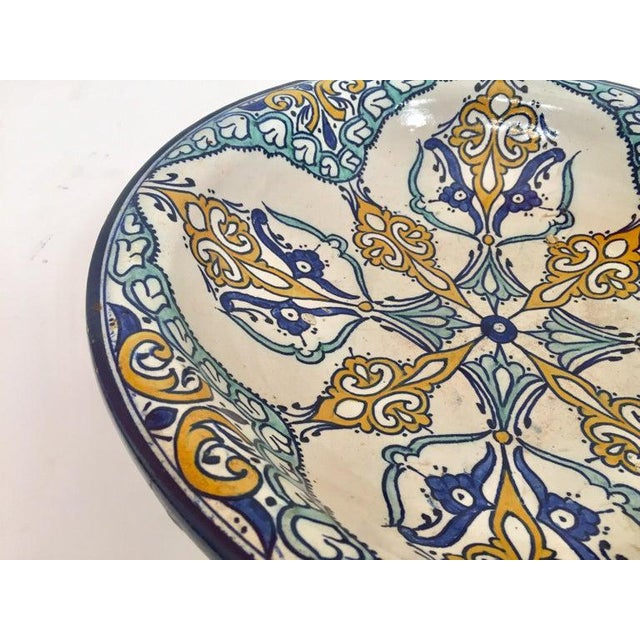 Moroccan Large Ceramic Plate Bowl From Fez For Sale - Image 9 of 13