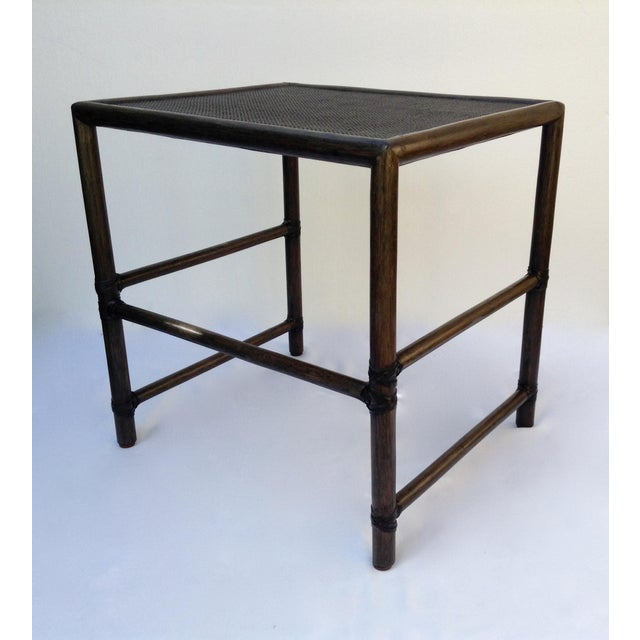 McGuire McGuire Leather Strapped Rattan & Cane Side Table For Sale - Image  4 of 11 - McGuire Leather Strapped Rattan & Cane Side Table Chairish