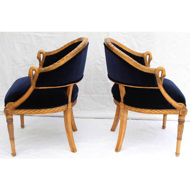 Meyer Gunther Martini French Empire Chairs Rope & Swan Details Newly Upholstered - Pair For Sale In Los Angeles - Image 6 of 9