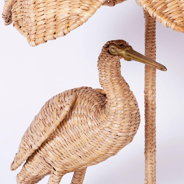 Mario Lopez Torres Wicker Egret Table Lamps - a Pair For Sale In West Palm - Image 6 of 10