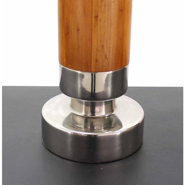 Heavy Turned Teak and Chrome Base Figural Table Lamp For Sale - Image 4 of 7