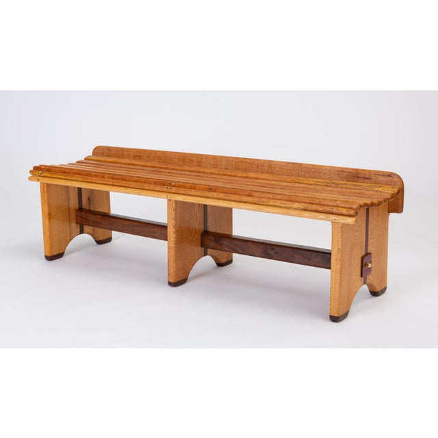 1970s Andrew Stauss Studio Craft Bench in Oak and Walnut For Sale - Image 5 of 12
