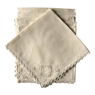 1970s Embroidered Linen Napkins - Set of 10 For Sale