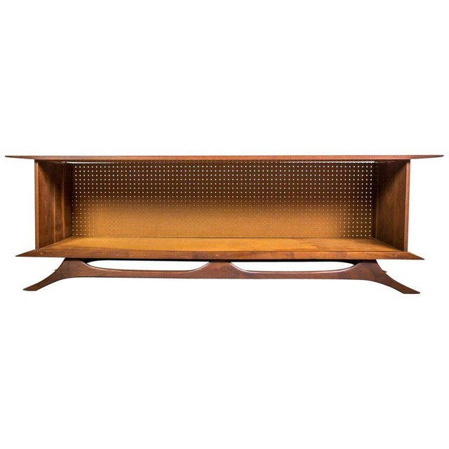 Wood Sculpted Studio Cabinet or Credenza in Walnut For Sale - Image 7 of 7