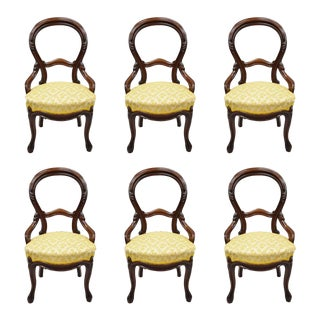 Antique Victorian Carved Walnut Balloon Back Parlor Dining Chairs - Set of 6 For Sale