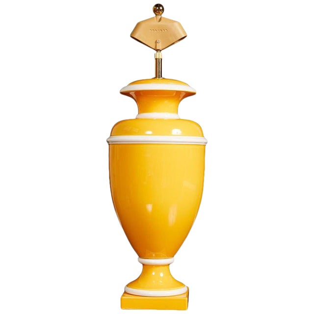 Vintage Italian Ceramic Lamp in Yellow and White For Sale
