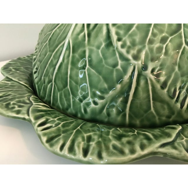 Large - Majolica Cabbage Leaf Food Dome & Platter-Made in Portugal For Sale - Image 10 of 13