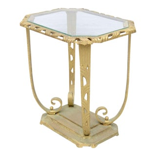 Gold and Glass Hollywood Regency Side Table, 1930 Usa For Sale