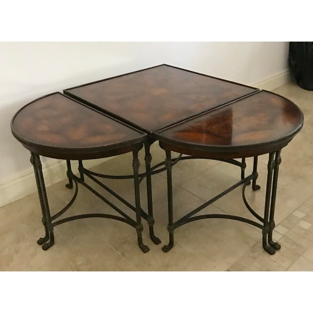 Vintage Traditional 3 Piece Bronze and Burled Wood Coffee Side Table Set - 3 Pieces For Sale - Image 9 of 10