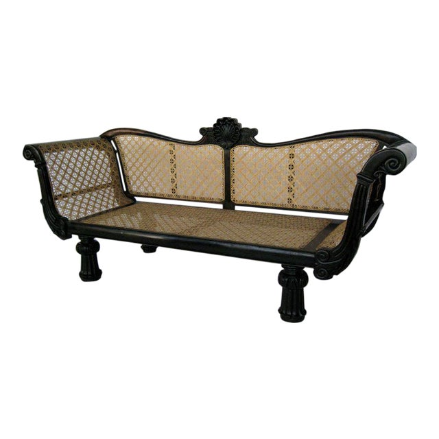 19th Century Caned Settee in Ebony For Sale