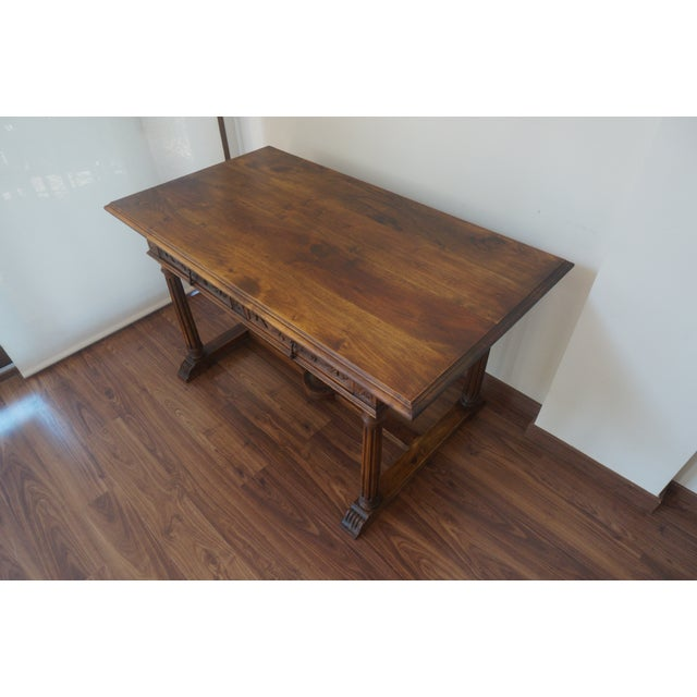 19th Spanish Refectory Table with Two Drawers, Desk Table - Image 3 of 9