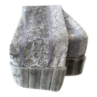 DWM | MALOOS Gray Damask Throw With Mink Trim For Sale