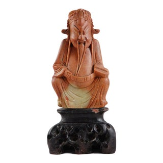 Asian Carved Soapstone of Seated Figure on Carved Base For Sale