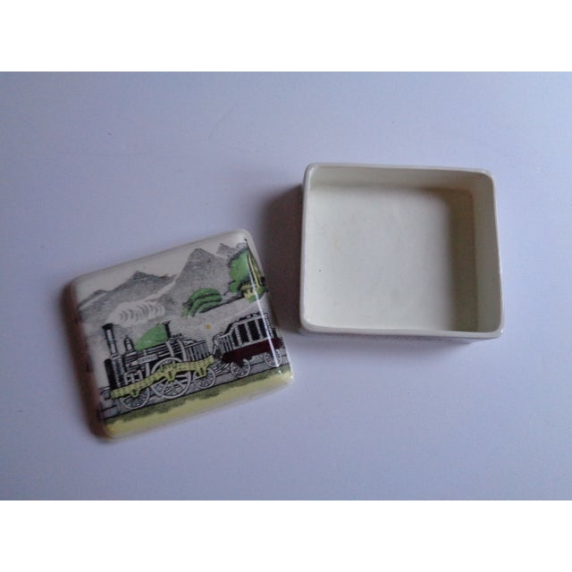 English Traditional Vintage English Railway Porcelain Box & Dishes - Set of 4 For Sale - Image 3 of 7