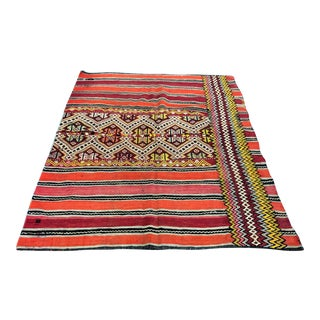 1960s Vintage Turkish Handwoven Designer Floor Kilim Rug- 5′5″ × 6′5″ For Sale